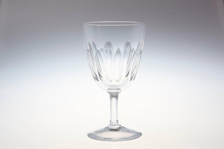 Mid-Century Modern Set of Eight Baccarat Crystal 'Verone' Pattern White Wine Glasses, circa 1950s For Sale