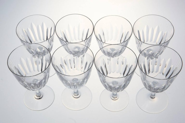 Set of Eight Baccarat Crystal 'Verone' Pattern White Wine Glasses, circa 1950s For Sale 3
