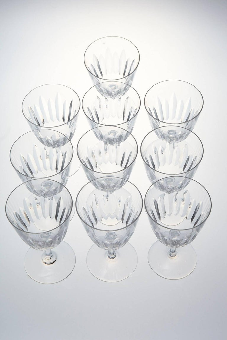 Mid-20th Century Set of Ten Baccarat Crystal 'Verone' Pattern Red Wine Glasses, circa 1950s For Sale