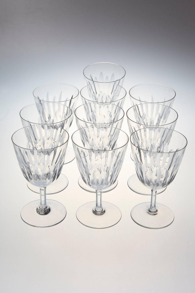 Set of Ten Baccarat Crystal 'Verone' Pattern Red Wine Glasses, circa 1950s For Sale 1