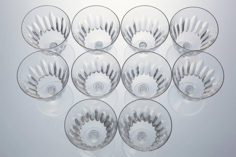 Set of Ten Baccarat Crystal 'Verone' Pattern Red Wine Glasses, circa 1950s For Sale 2