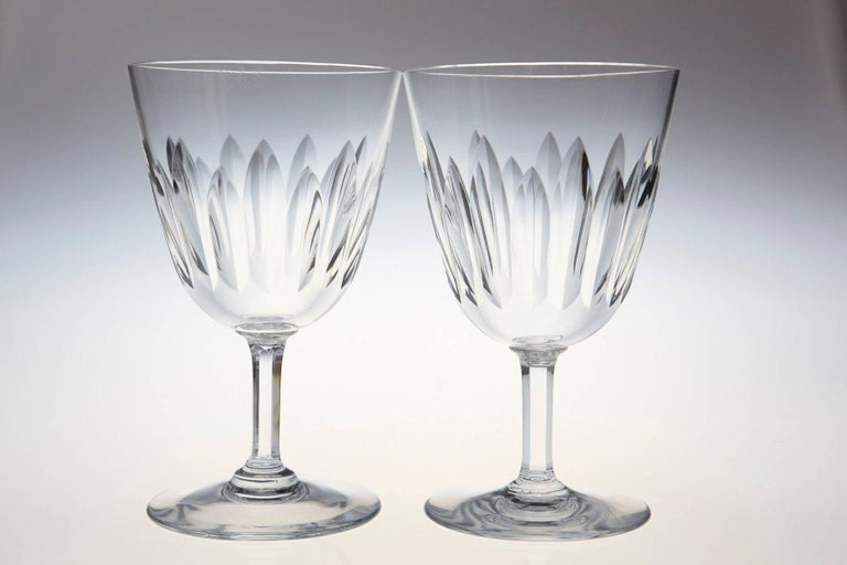 French Set of Ten Baccarat Crystal 'Verone' Pattern Red Wine Glasses, circa 1950s For Sale