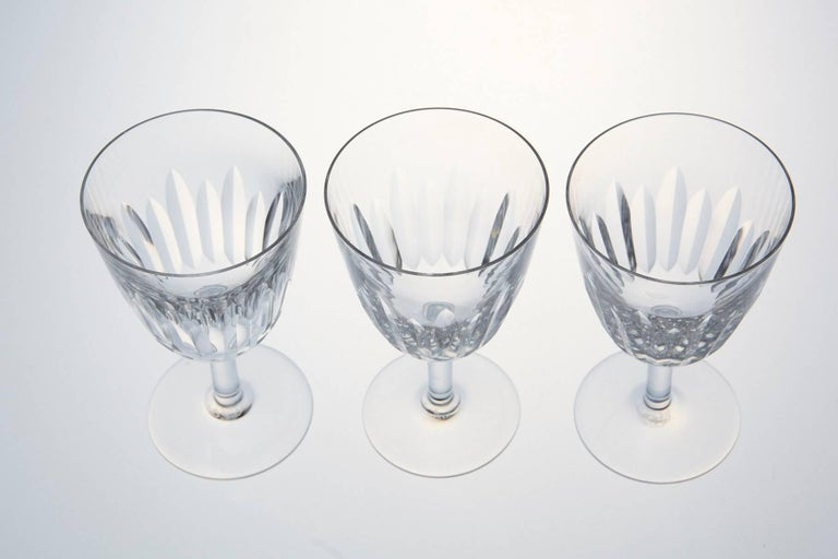 Set of Ten Baccarat Crystal 'Lorraine' Pattern White Wine Glasses, circa 1950s In Excellent Condition For Sale In Westport, CT