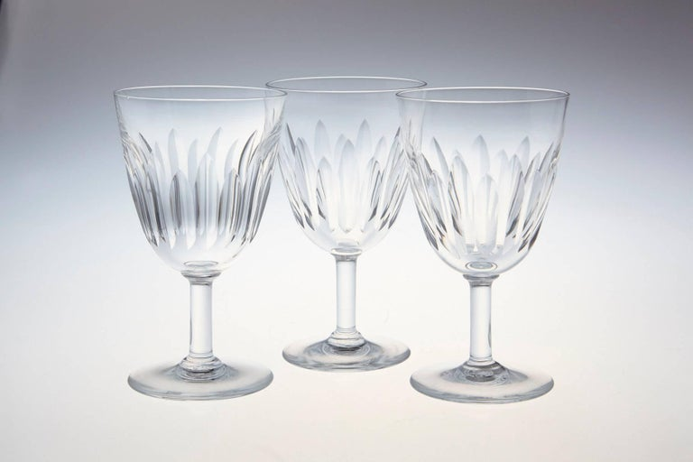 French Set of Ten Baccarat Crystal 'Lorraine' Pattern White Wine Glasses, circa 1950s For Sale