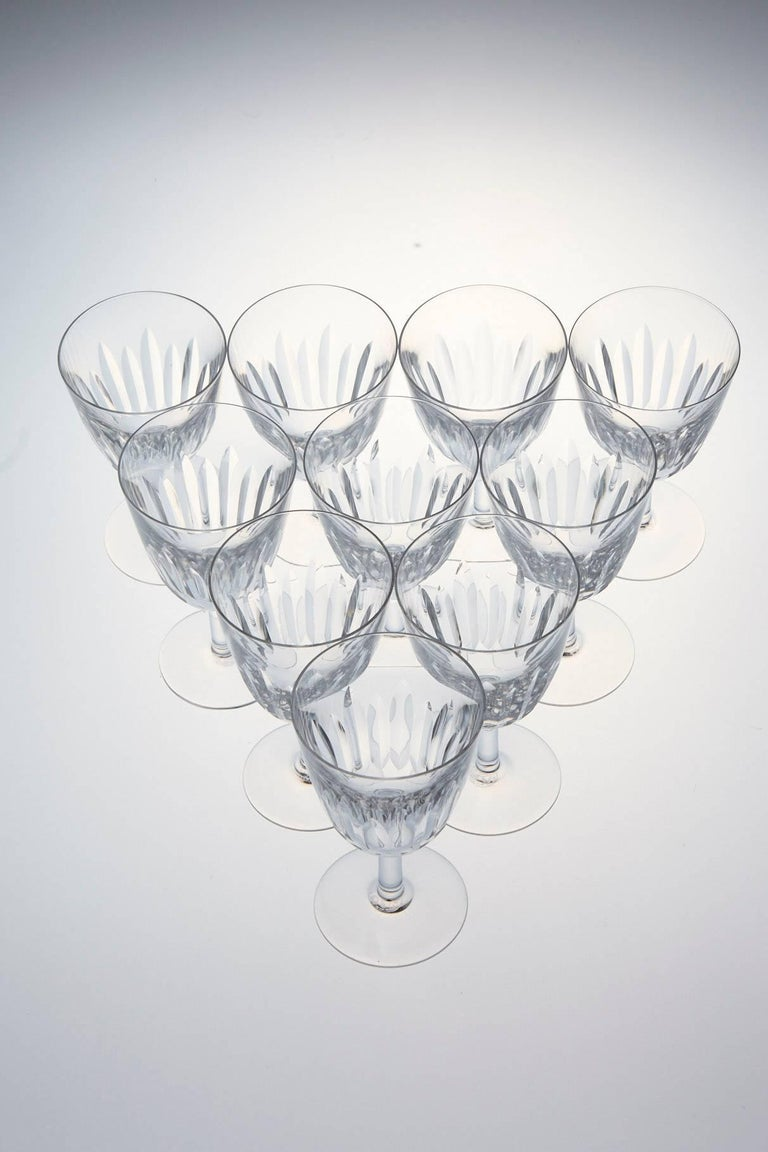 Mid-20th Century Set of Ten Baccarat Crystal 'Lorraine' Pattern White Wine Glasses, circa 1950s For Sale