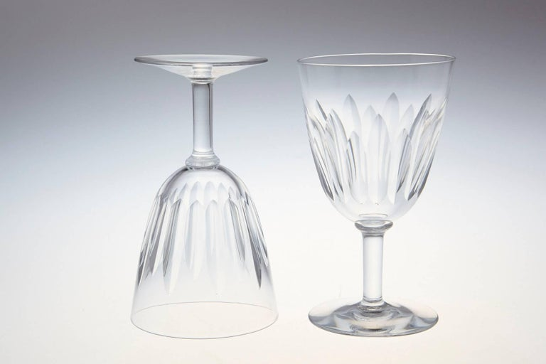 Mid-Century Modern Set of Ten Baccarat Crystal 'Lorraine' Pattern White Wine Glasses, circa 1950s For Sale
