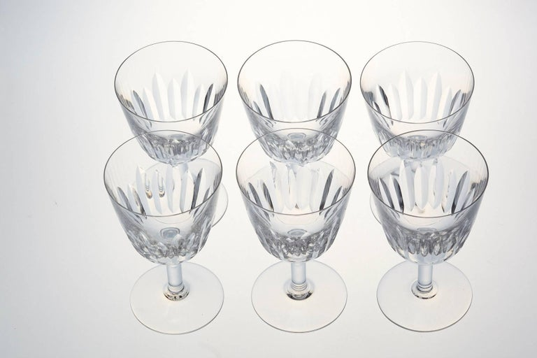 French Set of Six Baccarat Crystal 'Lorraine' Pattern Red Wine Glasses, circa 1950s For Sale