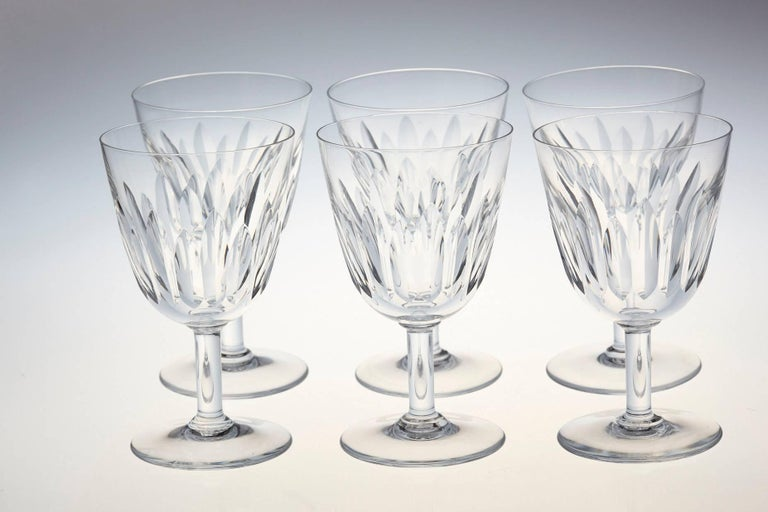Set of Six Baccarat Crystal 'Lorraine' Pattern Red Wine Glasses, circa 1950s 3