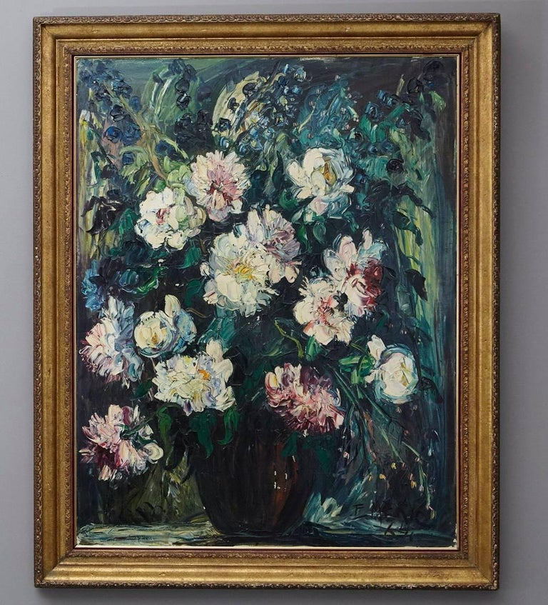 Oil painting on canvas titled 'Peonies' by Emeric Vagh-Weinmann (Hungarian, 1912-2012).