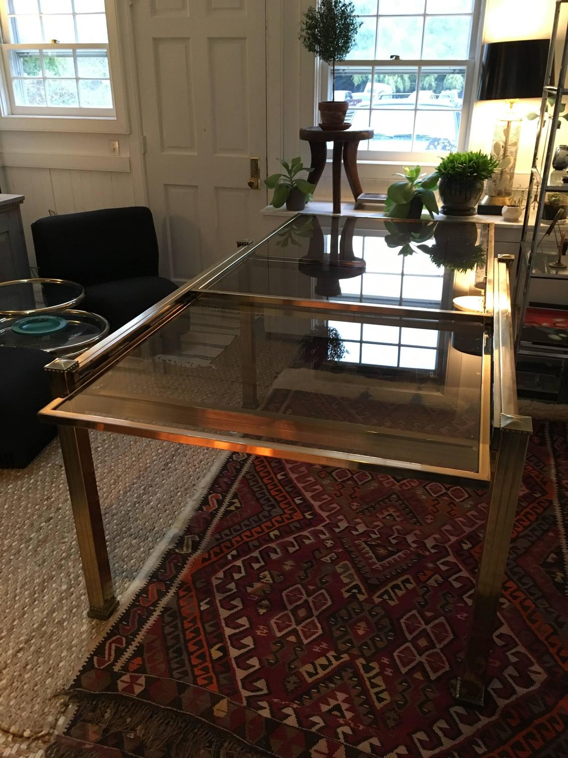 mastercraft brass and smoked glass extension dining table