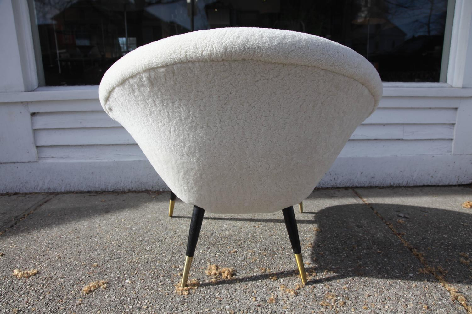 Italian Late 1960s Circle or Scoop Lounge Chair in Shearling at 1stdibs