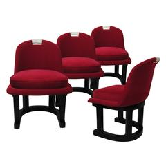 Set of Four Chairs Fiberglass Frame, Velvet Leather and Lacquer, USA, circa 1960