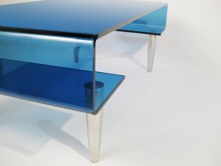 Coffee Table, Tempered Blue Crystal and Aluminium. Italy, circa 1980 3