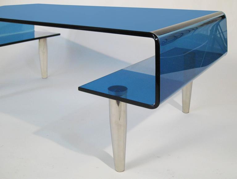 Coffee Table, Tempered Blue Crystal and Aluminium. Italy, circa 1980 8