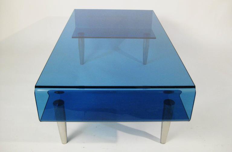 Coffee Table, Tempered Blue Crystal and Aluminium. Italy, circa 1980 9