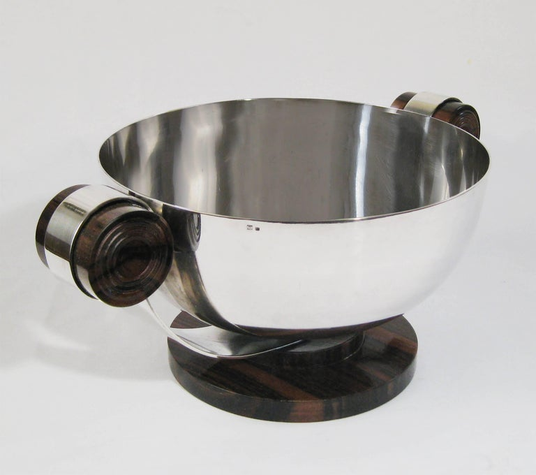 Art Deco Centrepiece, Silvered Metal and Wood, Raoul Monteillet, France 2