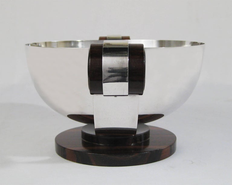 Art Deco Centrepiece, Silvered Metal and Wood, Raoul Monteillet, France 3