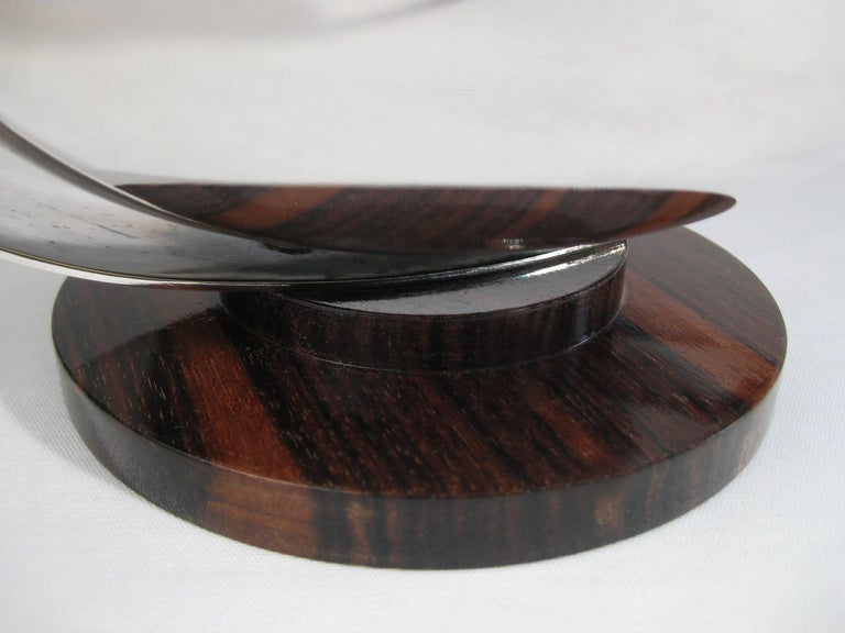 Art Deco Centrepiece, Silvered Metal and Wood, Raoul Monteillet, France 4