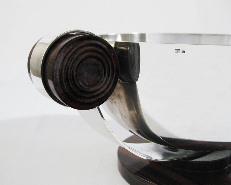 Art Deco Centrepiece, Silvered Metal and Wood, Raoul Monteillet, France 6