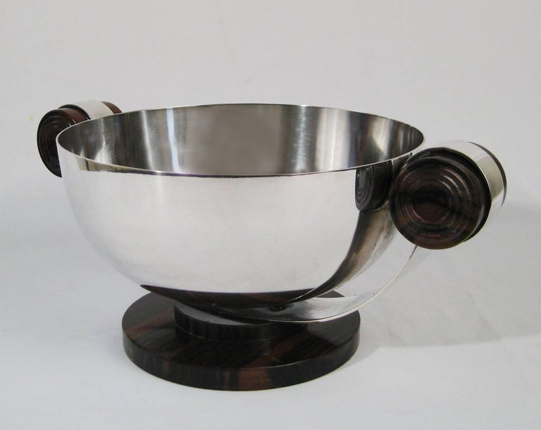 Art Deco Centrepiece, Silvered Metal and Wood, Raoul Monteillet, France 7