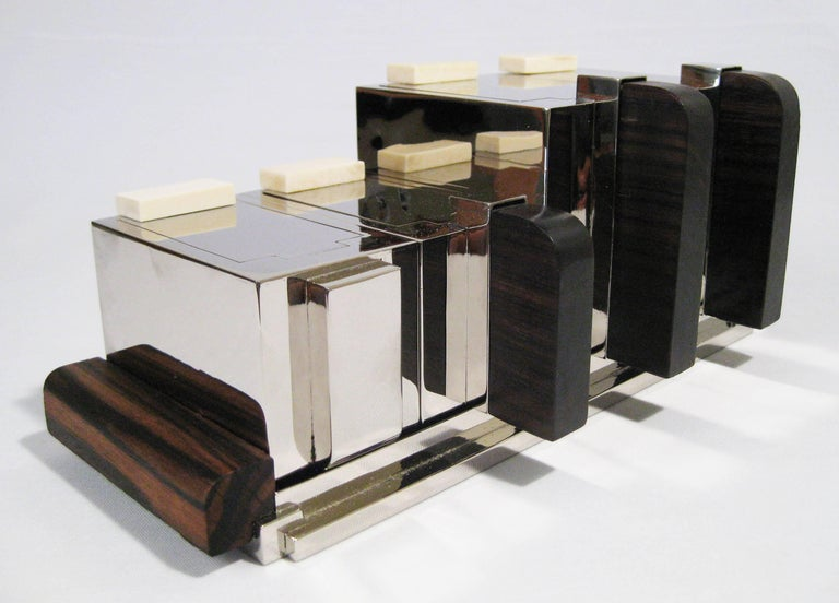 Tea set in chrome and wood attributed to maison desny for Decoration maison 1930