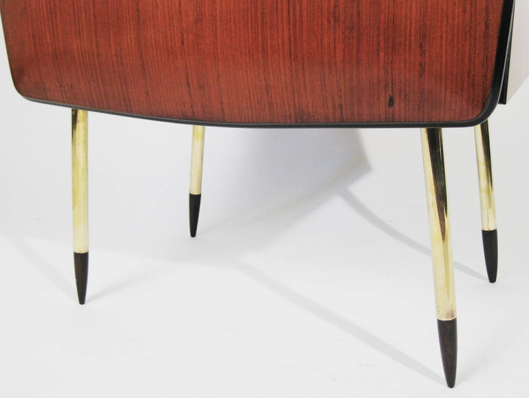 Pair of Nightstands Wood, Glass, and Brass, Italy, Signed 1957 10
