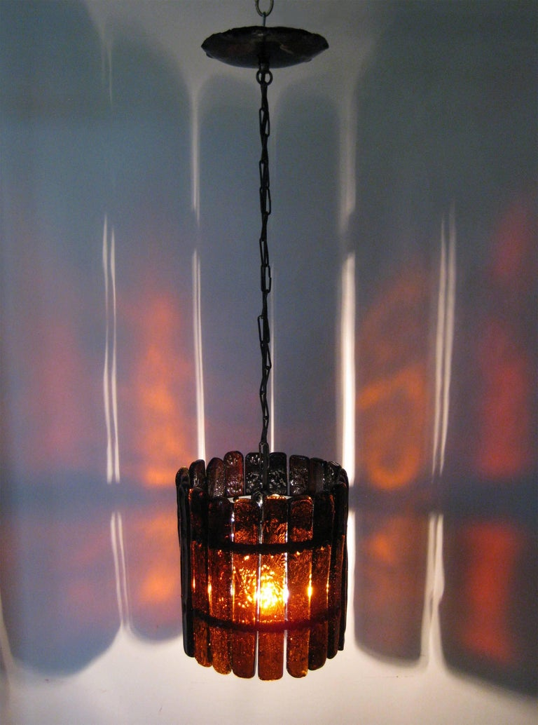 Hanging Lamp in Glass and Metal, F. Derflingher for Feder's, Cuernavaca 2