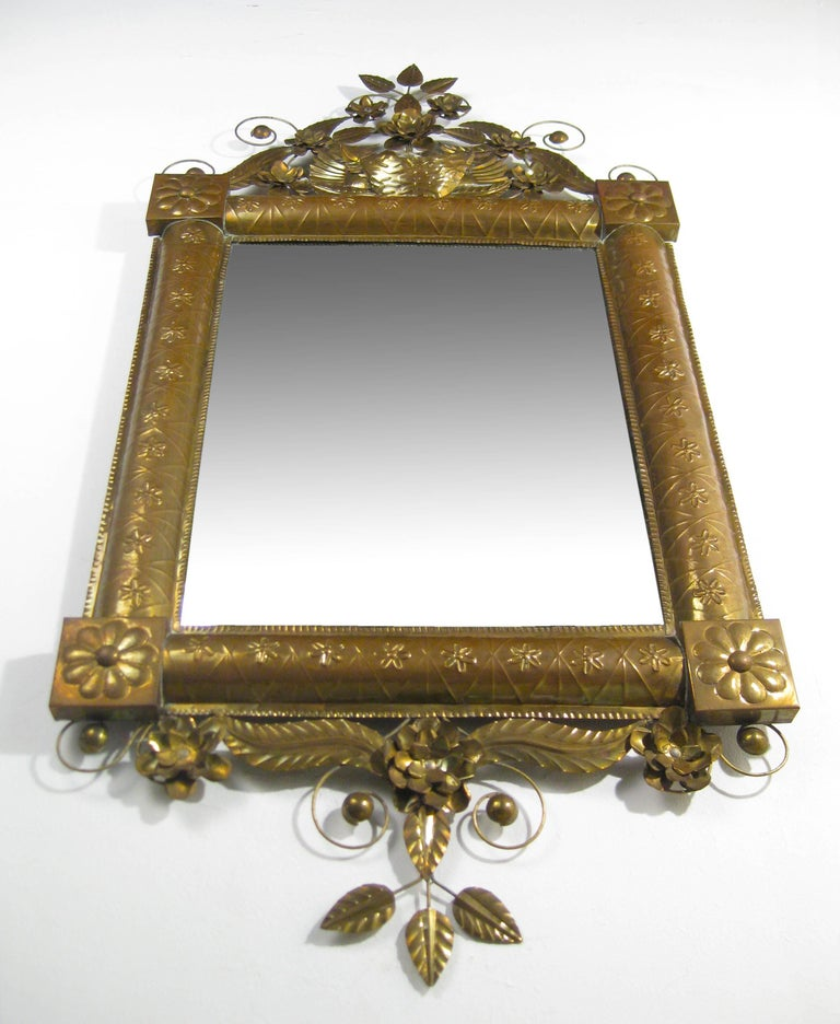 Antique Mexican Mirror in Brass and Silvered Glass, Oaxaca, Mexico, circa 1950 3