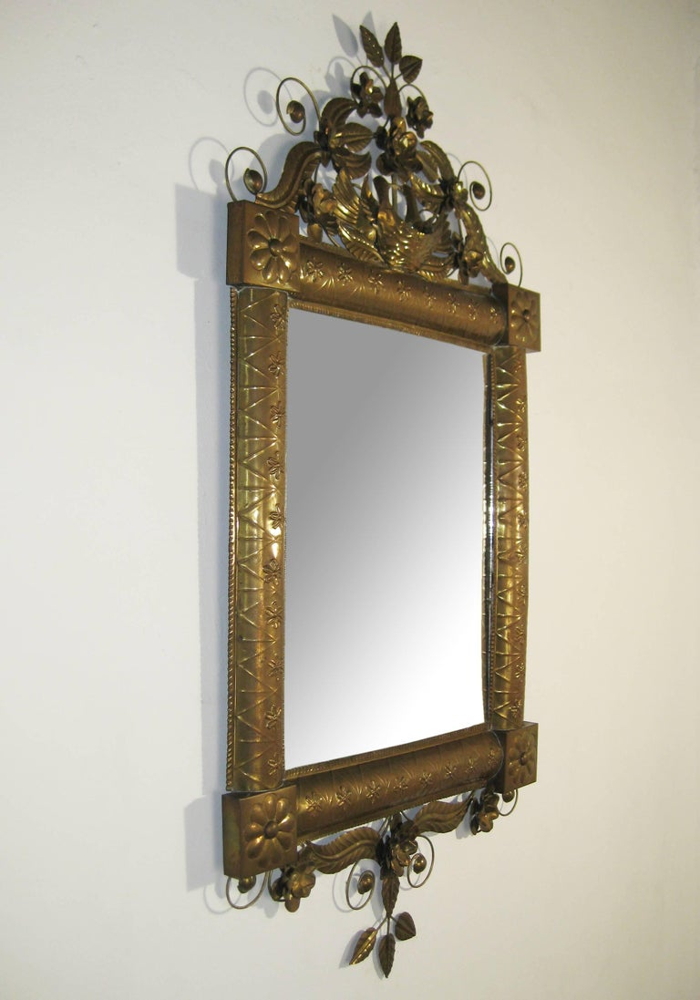 Antique Mexican Mirror in Brass and Silvered Glass, Oaxaca, Mexico, circa 1950 7