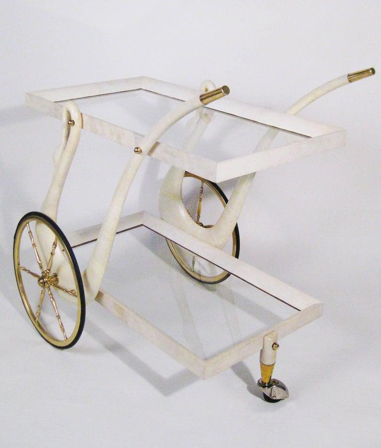 Bar Cart, Aldo Tura, Goatskin, Crystal, Bronze, Brass, Italy, circa 1960 2
