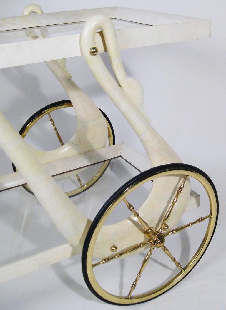 Bar Cart, Aldo Tura, Goatskin, Crystal, Bronze, Brass, Italy, circa 1960 6
