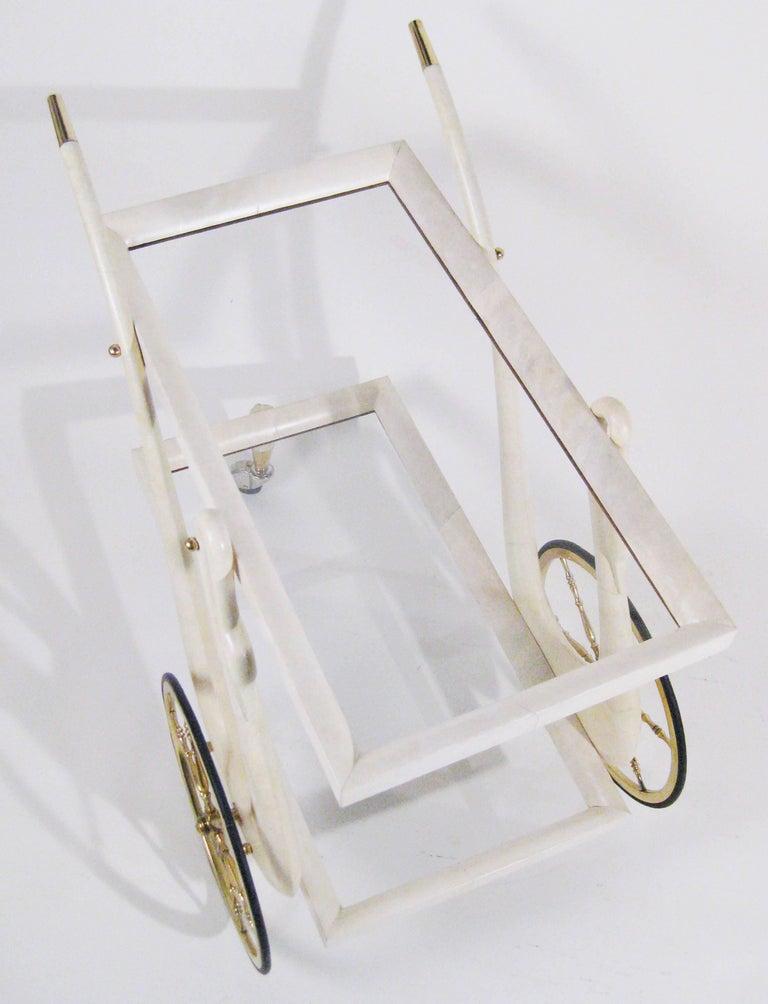 Bar Cart, Aldo Tura, Goatskin, Crystal, Bronze, Brass, Italy, circa 1960 8