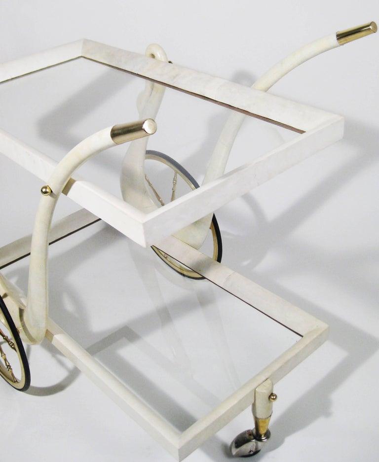 Bar Cart, Aldo Tura, Goatskin, Crystal, Bronze, Brass, Italy, circa 1960 10