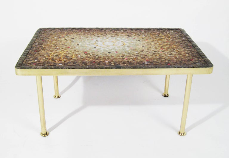 Mosaic Tile, Bronze Midcentury Coffee Table, Genaro Alvarez, Mexico City, 1950 2