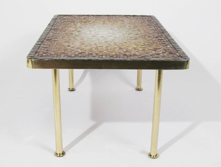 Mosaic Tile, Bronze Midcentury Coffee Table, Genaro Alvarez, Mexico City, 1950 6
