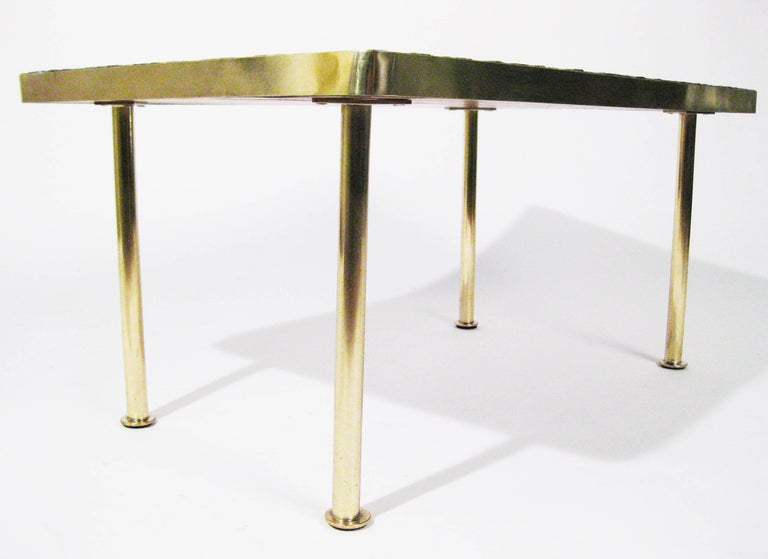 Mosaic Tile, Bronze Midcentury Coffee Table, Genaro Alvarez, Mexico City, 1950 7