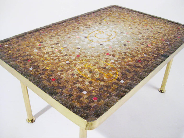 Mosaic Tile, Bronze Midcentury Coffee Table, Genaro Alvarez, Mexico City, 1950 9