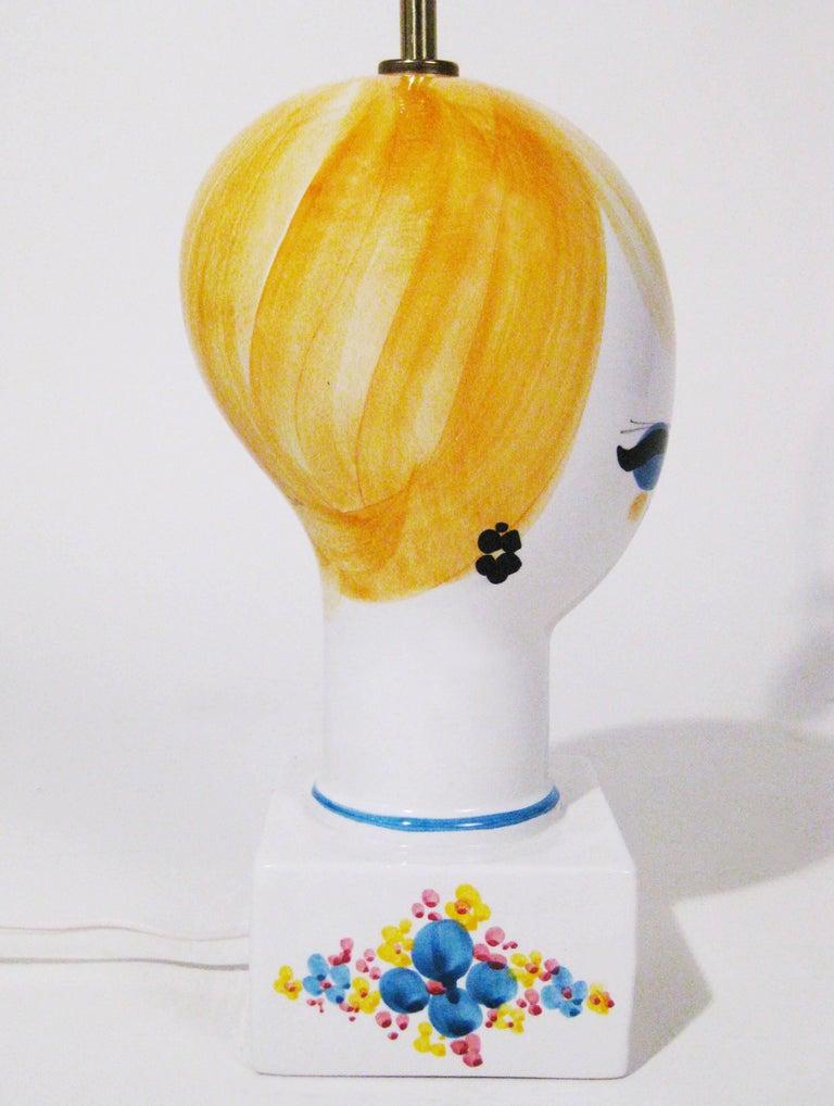 Midcentury Ceramic Hand-Painted Table Lamp, Italy, circa 1970 3