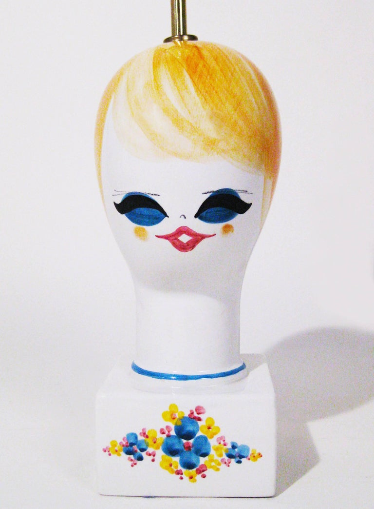 Midcentury Ceramic Hand-Painted Table Lamp, Italy, circa 1970 5
