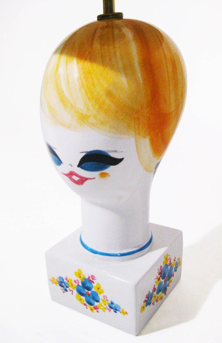 Midcentury Ceramic Hand-Painted Table Lamp, Italy, circa 1970 8