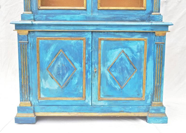 20th Century Italian Breakfront Cupboard in Mediterranean Blue Painted Finish For Sale