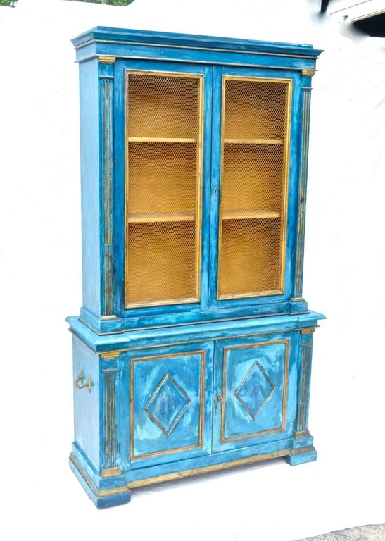 Hand-Painted Italian Breakfront Cupboard in Mediterranean Blue Painted Finish For Sale