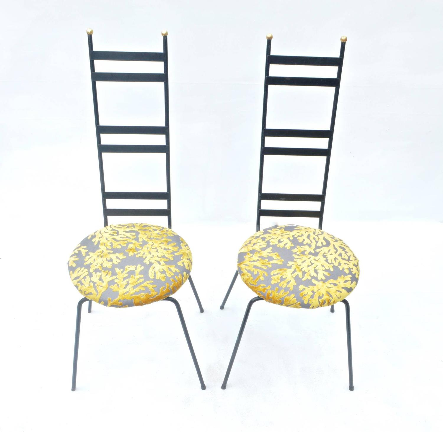 Tantalizing Pair of Tall Backed Garden Chairs For Sale at 1stdibs