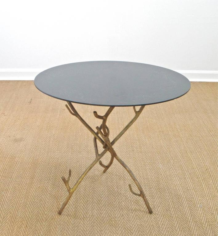 Welded Faux Bois Cocktail Table For Sale