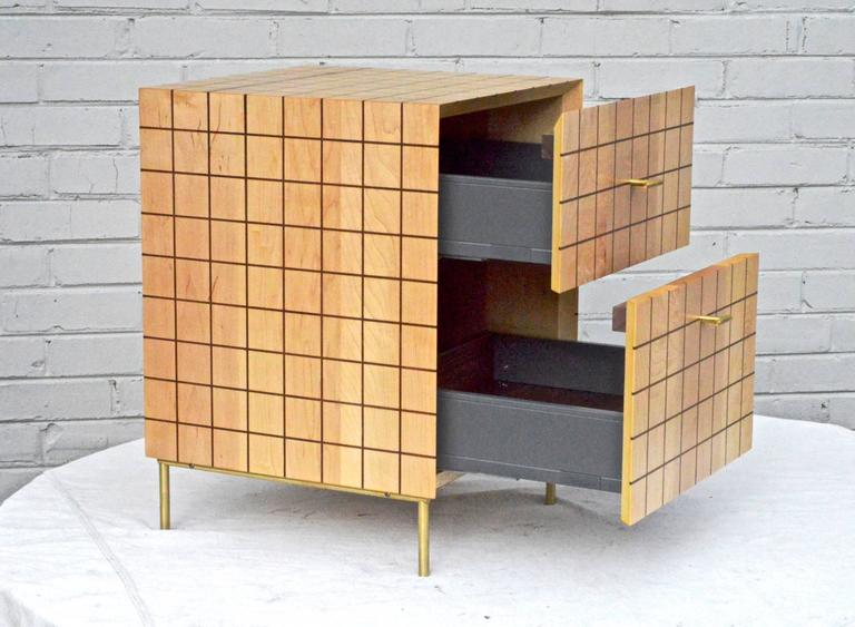 Modern Grid Cabinet in Maple by Tate Pray For Sale