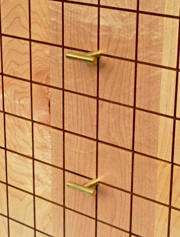 Wood Grid Cabinet in Maple by Tate Pray For Sale