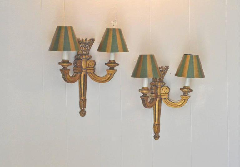 Carved 19th Century French Giltwood Sconces For Sale