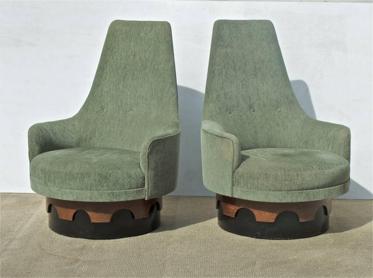 Adrian Pearsall High Back Swivel Chairs A Pair For Sale