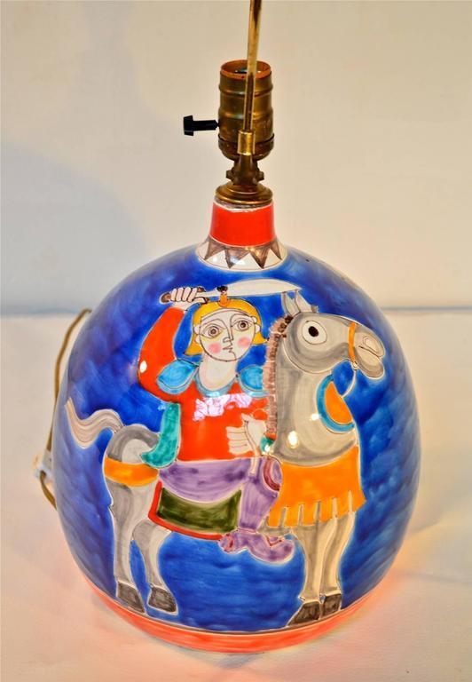 Desimone Equine Pottery Lamp At 1stdibs