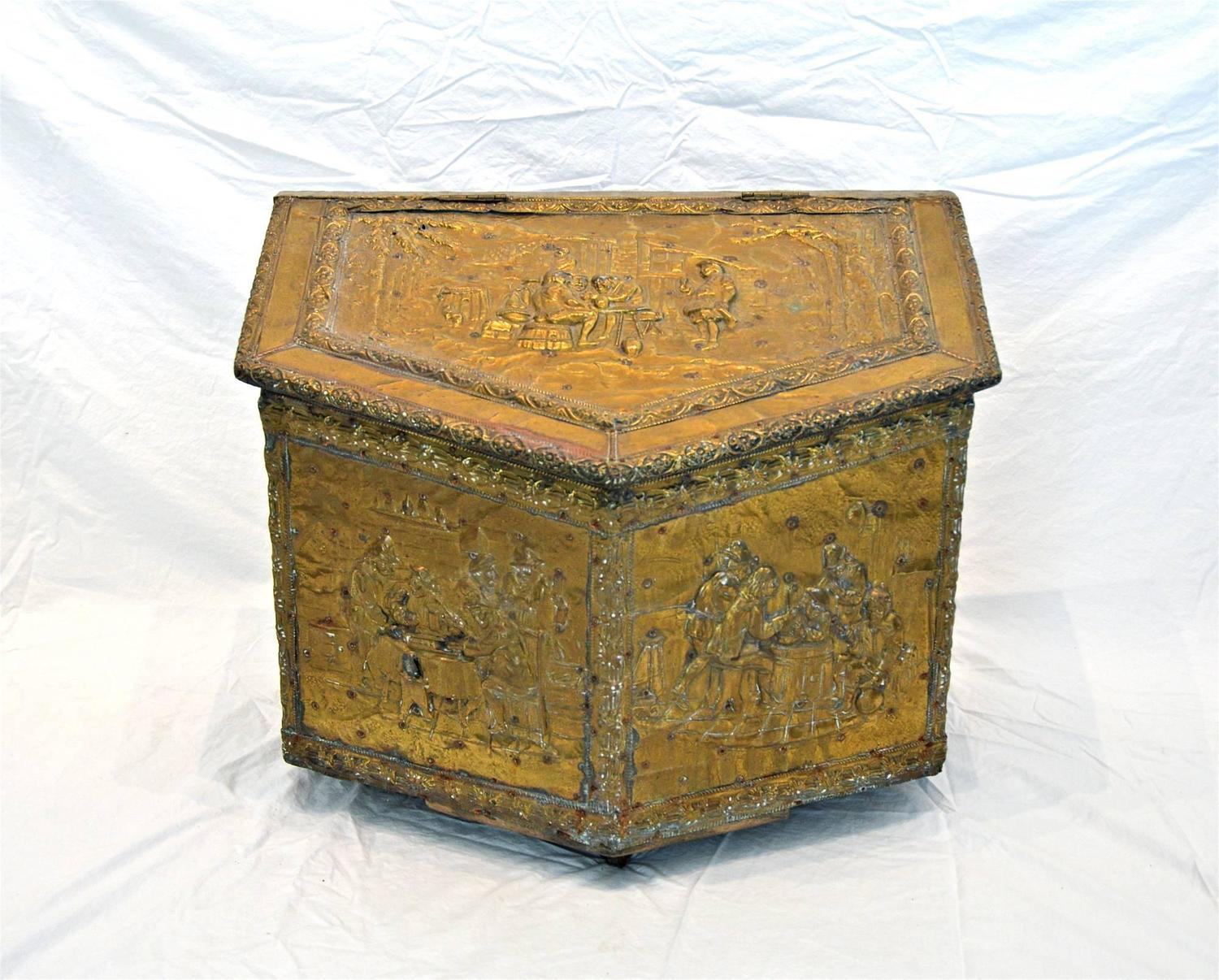 Decorative Kindling Box : Brass repouss? firewood box for sale at stdibs